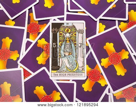 Samara, Russia-March 9, 2016: Tarot cards Tarot, the high priestess  card in the foreground.