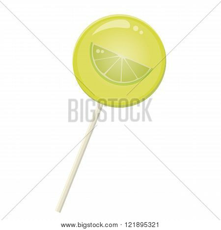 Lemon lime slice  lollipop lolly pop on a white background
