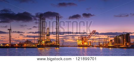 Oil Drilling Rig Construction Panorama