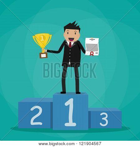 Businessman winner standin on podium