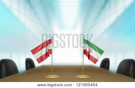 Austria and Iran relations and trade deal talks 3D rendering