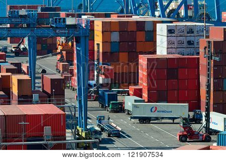 Valparaiso, Chile - December 3, 2012: Colorful collection of shipping containers in the historic port of Valparaiso in Chile. Valparaiso is a major port serving the capital city of Santiago.