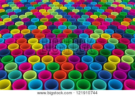 Abstract background in the form of colorful mosaic tubes