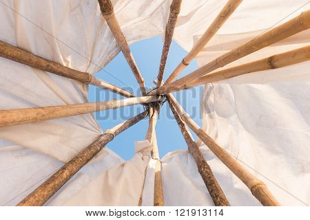 Look up in sky inside a Native American Indian tepee.