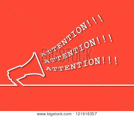 Attention red background with megaphone. Vector illustration