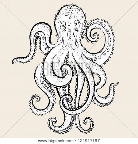 Cartoon hand drawing octopus.