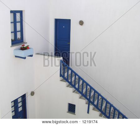 Greek White And Blue House
