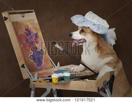 Welsh corgi Pembroke dog artist painting still life with a bouquet of flowers