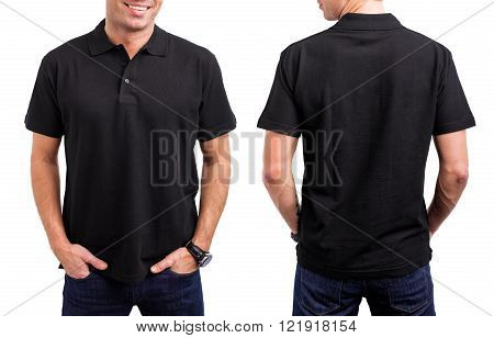 Man's black T- shirt from front and back