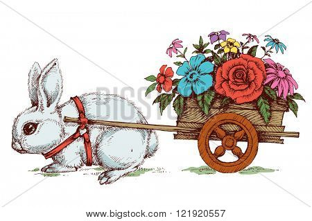 Easter card, cute Easter bunny and a flower carriage