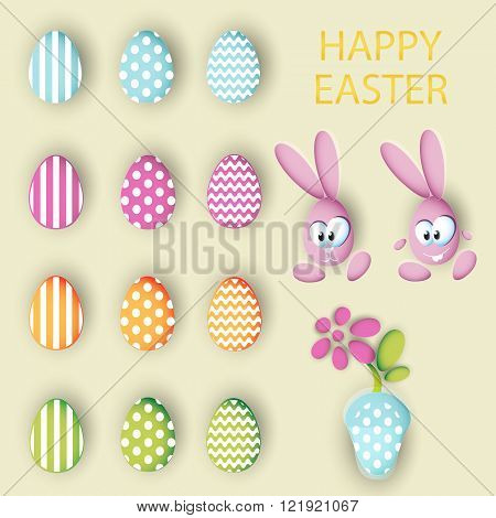 Big collection vector set of easter eggs rabbits eggs and pot with a flower