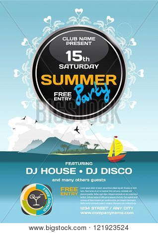 Vector summer party invitation disco style. Seascape with boat and island to posters invitations or flyers. Vector template flat summer party poster.
