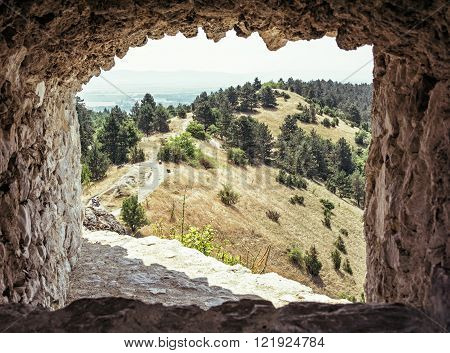 View of landscape from the ruins of castle Cachtice Slovak republic. Travel destination.