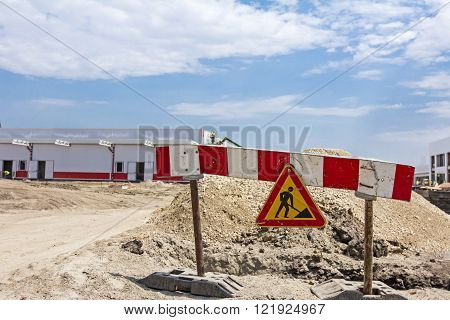 Work in progress triangle sign with boundary are symbols of caution road resurfacing signal.