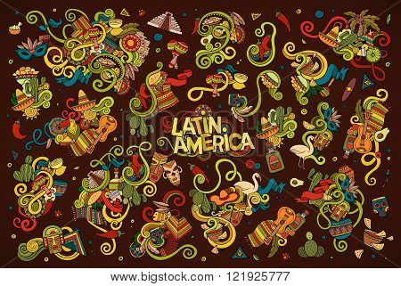 Colorful vector hand drawn Doodle Latin American objects