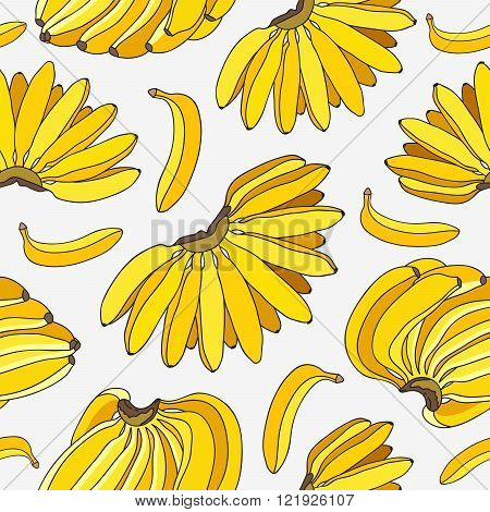 Seamless pattern of the ligaments yellow bananas on a light gray background.