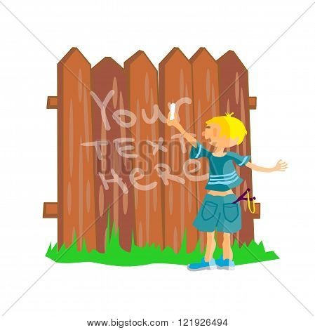 Bully boy writes chalk on fence. Kid stands near the fence. Bull