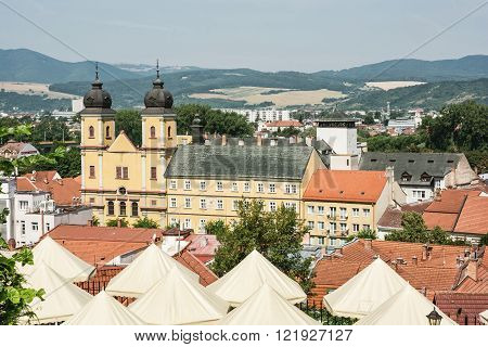 Trencin city with piarist church of saint Francis Xaversky Slovak republic. Architectural theme.
