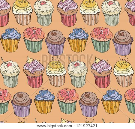 Collection of six cupcakes. Vector seamless illustration and background with the image of different cute cupcakes : goodies sweets pastries and with various fillings. Bright colored pattern.