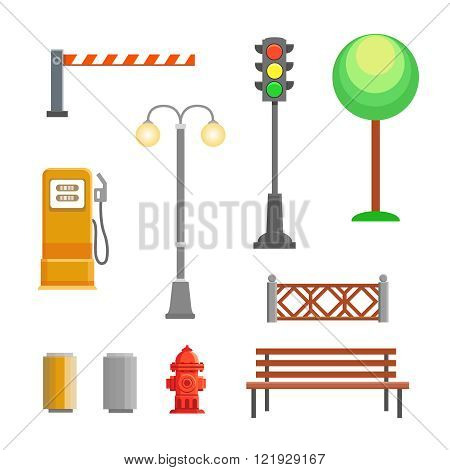 Vector street element icons set. Bench, hydrant and trafficlights, streetlights with fence