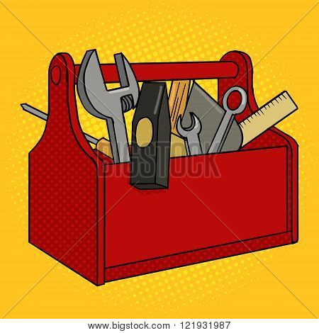 Toolbox red color pop art style vector