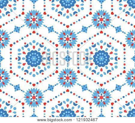 Blue and Red Floral Pattern with Cornflower