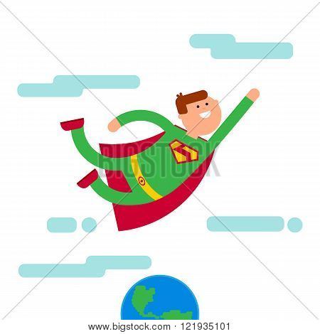 Superhero character fly away from Eath