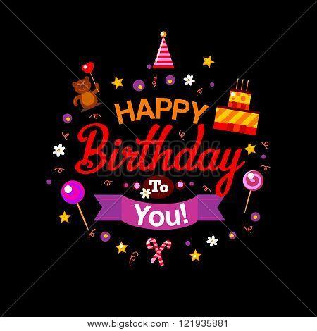 Happy Birthday kids card at black