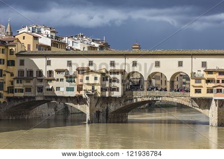 Florence, Italy - March 07: Bridge Ponte Vecchio In Florence, Italy
