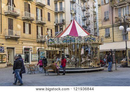 La Spezia, Italy - March 09, 2016: The High Narrow Houses Of La Spezia City In Northern Italy