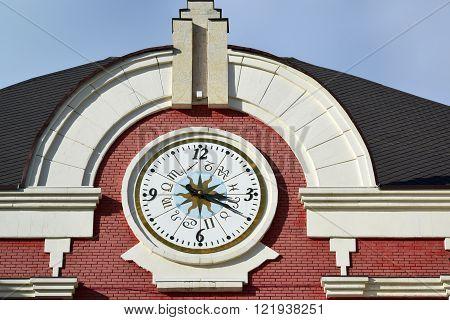 The clock on the facade Kazansky railway station from  street Novoruzanskaya