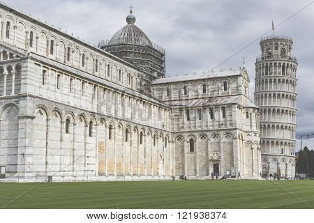 PIZA ITALY - 10 MARCH 2016: View of Leaning tower and the Basilica Piazza dei miracoli Pisa Italy
