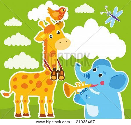 Giraffe And Elephant Cartoon Vector. Baby Frame Or Card. Giraffe Drawing. Giraffe Costume. Giraffe Meme. Giraffe Child. Elephant Cartoon Image. Elephant Cartoon Drawing. Elephant Cartoon Character.