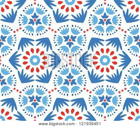 Catchy Blue and Red Flower Pattern