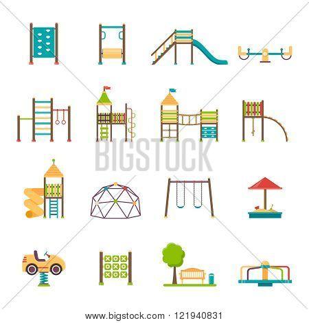 Playground Flat Icons Set