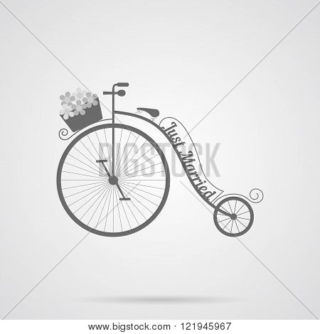 Vector Gray Wedding Retro Bicycle Flat Icon
