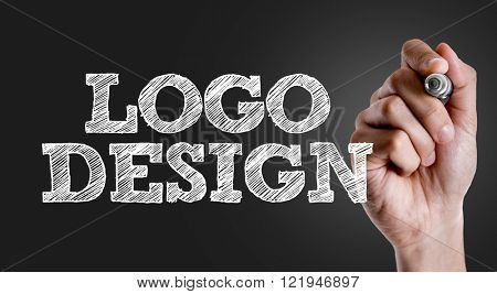 Hand writing the text: Logo Design