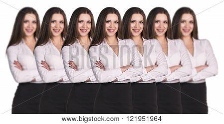 Women clones standing in a row