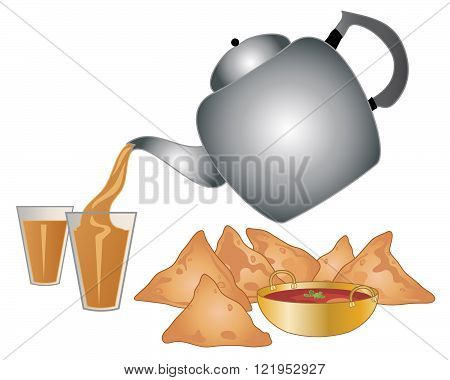an illustration of a big metal indian tea pot pouring out masala tea in to a glass with a snack of spicy samosas and dip on a white background