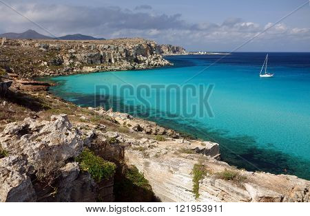 the beautiful beach of cala rossa favignana sicily