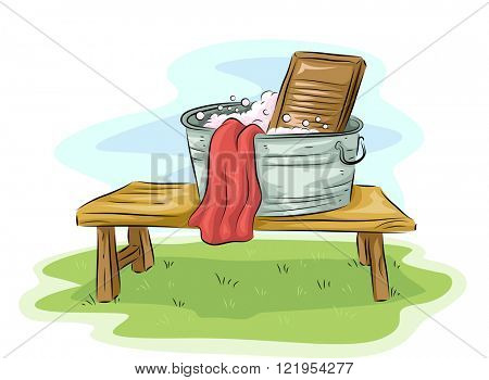 Illustration Featuring a Basin and a Washboard Placed Outdoors
