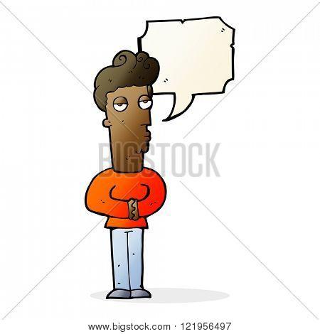 cartoon arrogant man with speech bubble