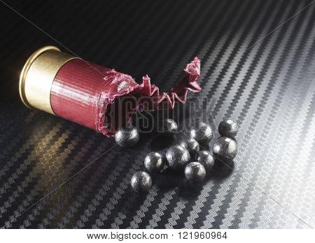 Small twelve gauge shotgun shell open and showing buckshot pellets inside