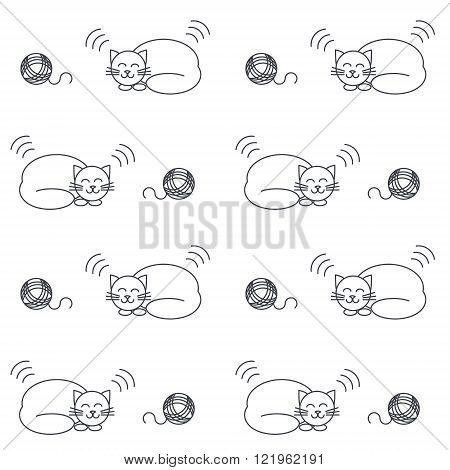 Happy purring sleeping cats with yarn balls. Vector line seamless pattern black on white background.