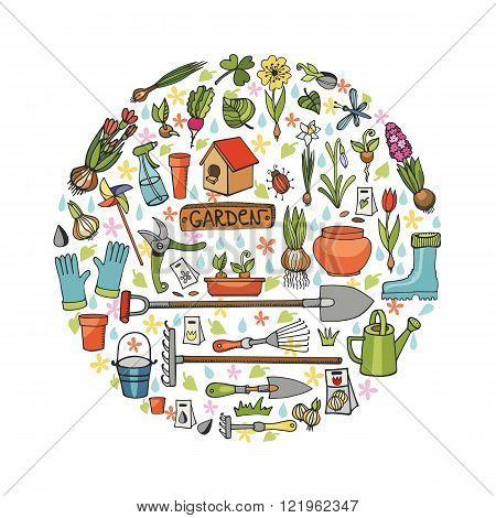Spring garden.Hand drawn flowers, bulb, garden tool, boarding equipment in circle composition.Vector garden sketch.Spring Gardening isolated elements, planting spring symbols, seedlings, vintage vector