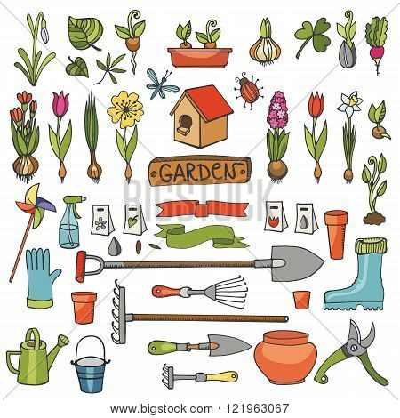 Spring garden set.Hand drawn flowers, bulb, garden tool, boarding equipment.Vector garden sketch elements.Spring Gardening isolated icon set, planting spring symbols, seedlings, vintage vector elements