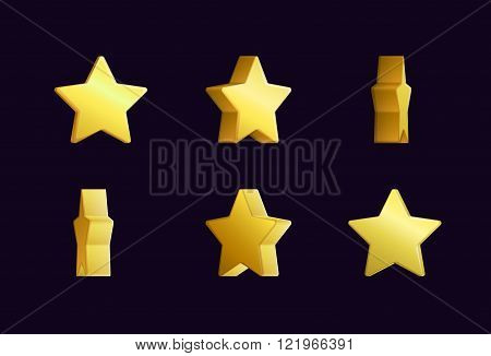 Sprite sheet effect animation of a spinning golden star sparkling and rotating. For video effects, g