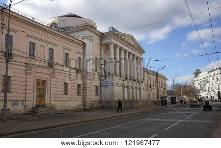 MOSCOW, RUSSIA - MARCH 14, 2016: Building of the Board of Trustees on the street Solyanka 14-a landmark now the Russian Academy of Medical Sciences