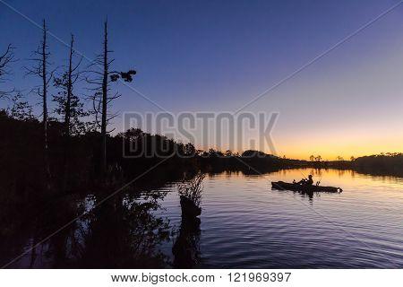 kayak fishing freshwater lake in south jersey ** Note: Shallow depth of field