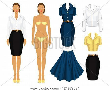 Paper doll with clothes. Body template. Set of template paper clothes. Various style clothes. Clothes for office, clothes for holiday. Pretty girl with dark skin in formal white dress and black skirt.